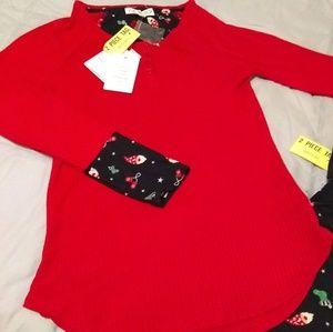 Pink Rose 2pc Pajama Set NWT